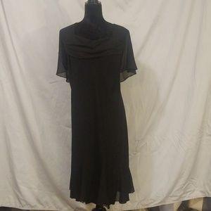 Little black dress with drape neck